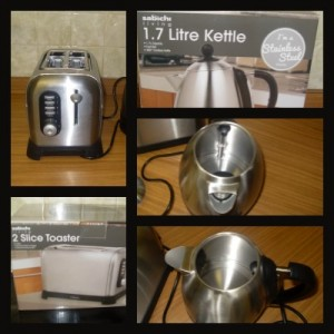 sabichic i'm a brushed stainless steel kettle and toaster
