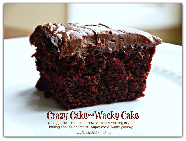 Crazy Cake Wacky Cake recipe no eggs no milk no butter chocolate cake