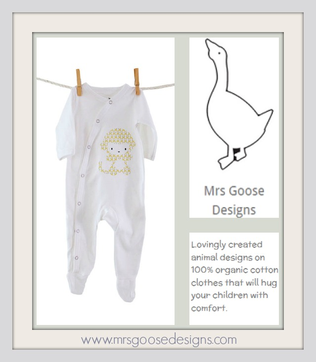 Monkey Print 100% Organic Cotton Babygro From Mrs Goose Designs