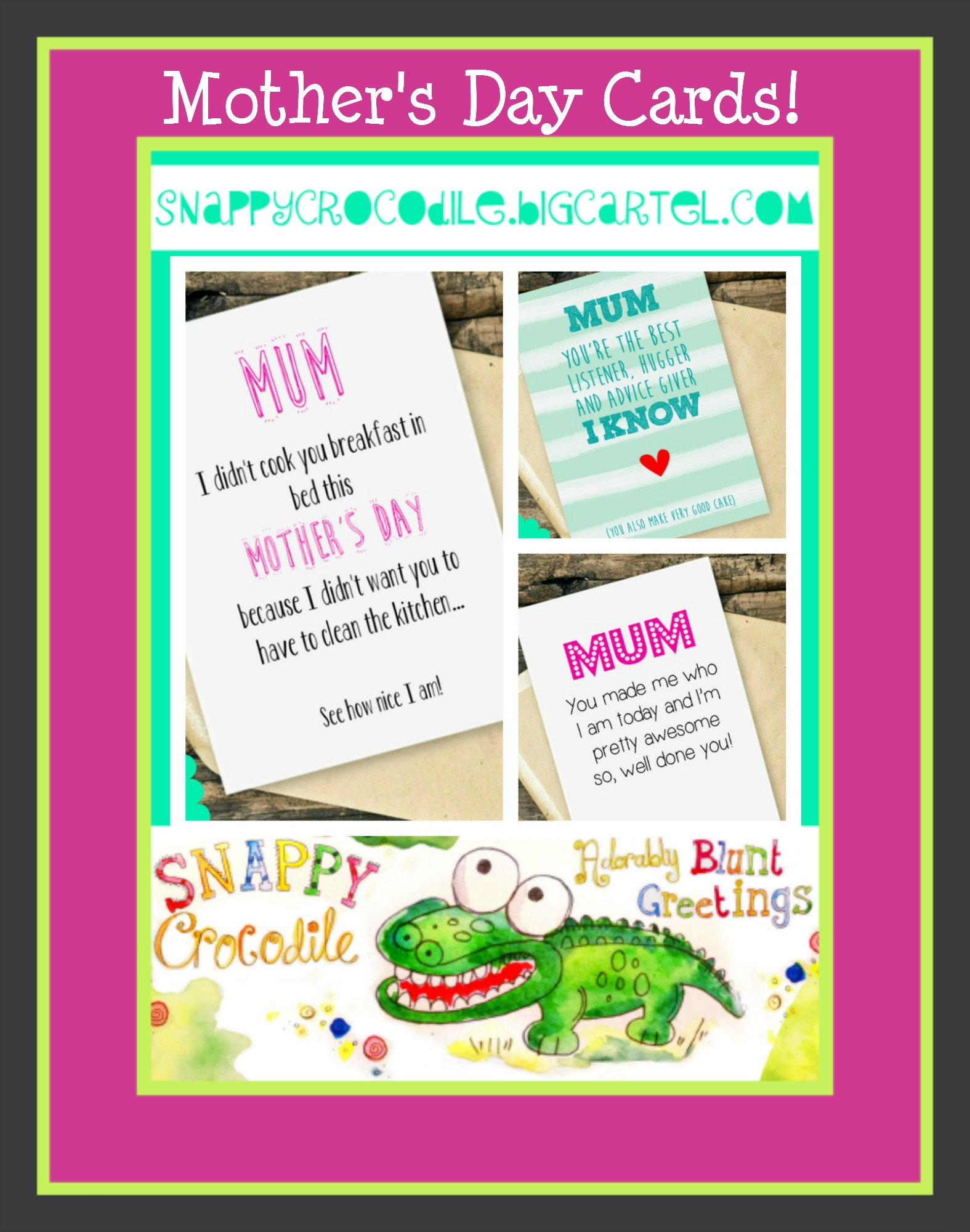 mothers day cards from snappy crocodile