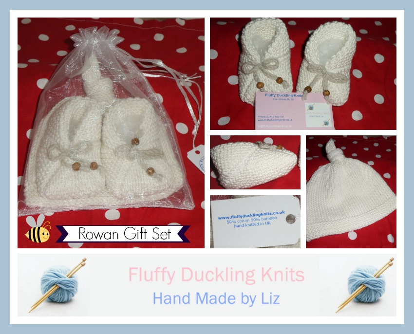 fluffy duckling knits handknitted baby gift set
