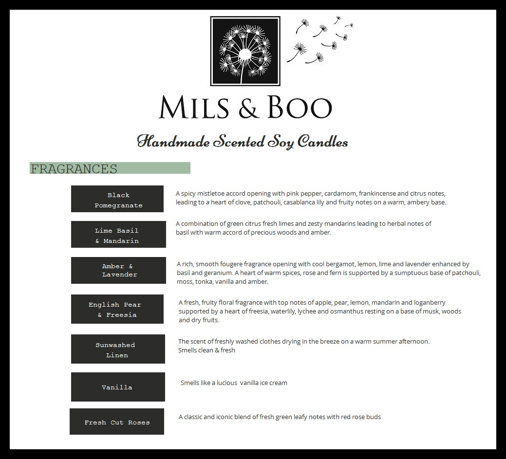 mils & boo soy candle fragrances