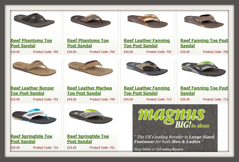 reef sandals from magnus shoes