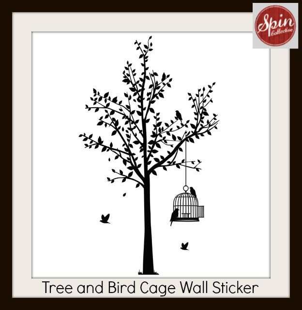 Tree and Bird Cage Wall Sticker from spin collective