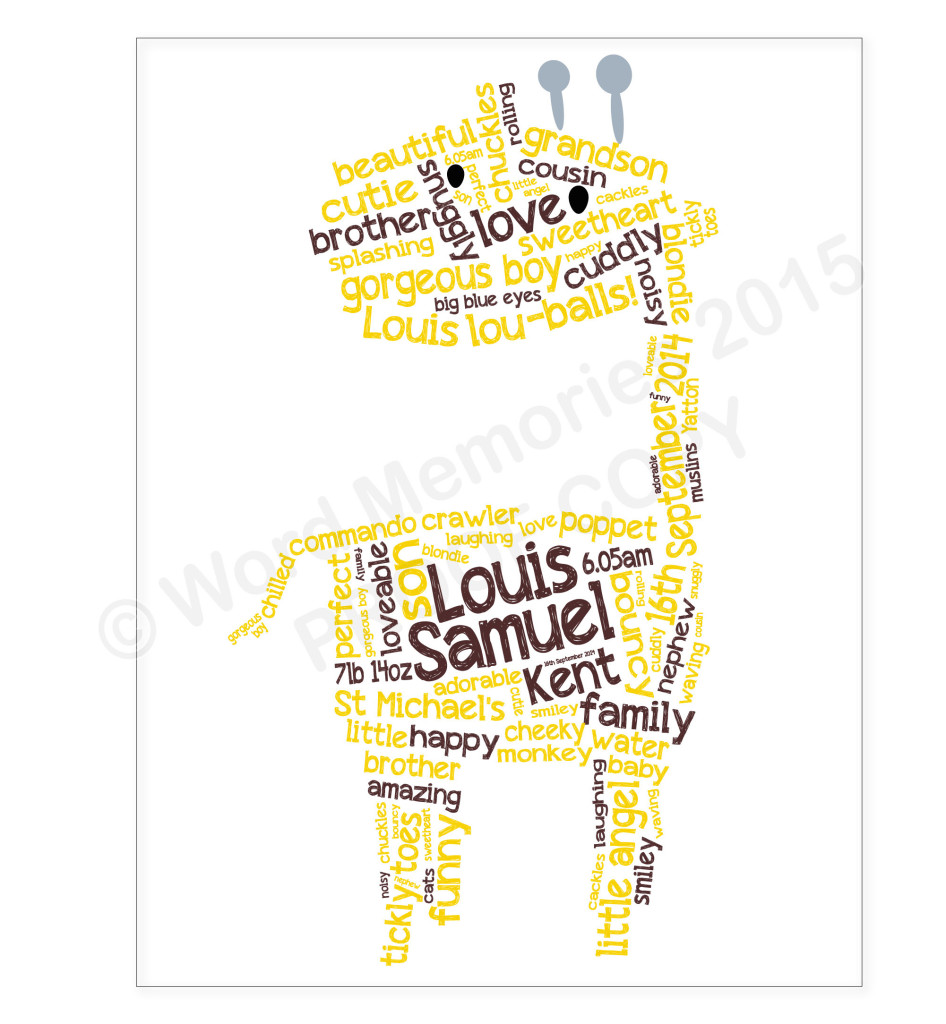 giraffe word art
