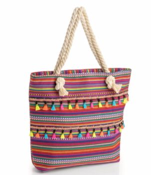 Large Multi Coloured Tribal Print Shopper Bag