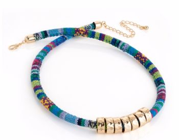 Blue Tribal Print Choker Necklace with Gold Beads