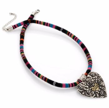 Multi Coloured Choker Tribal Print Necklace with Silver and Gold Pendant
