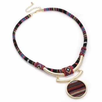 Multi Coloured Tribal Necklace with Pendant