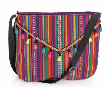 Medium Sized Tribal Print Messenger Hippy Bag