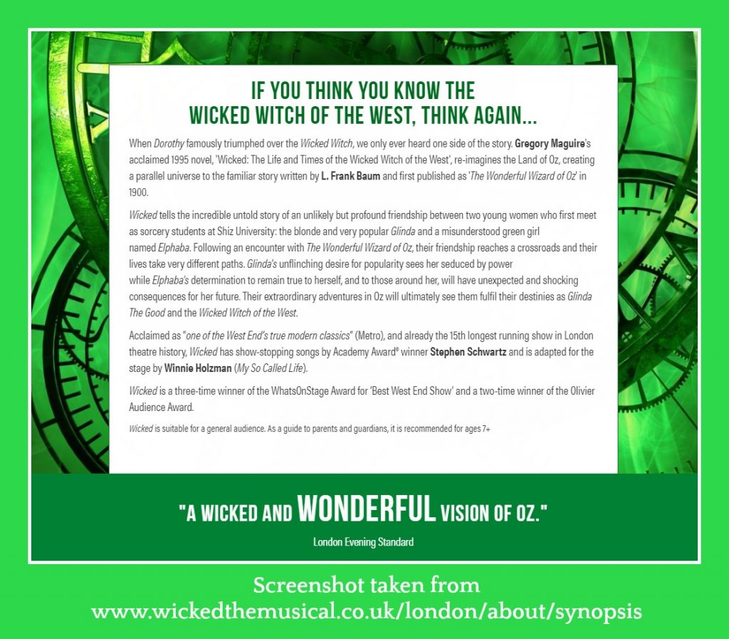 synopsis of Wicked The Musical