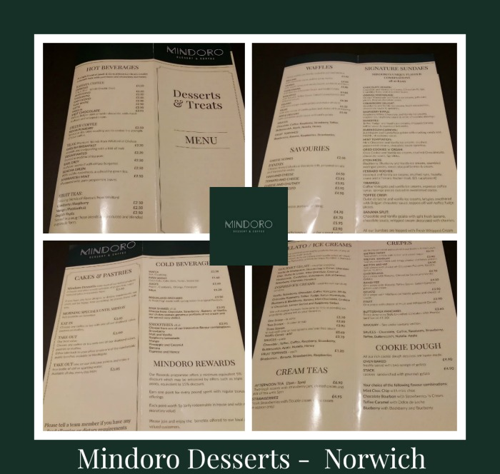 Mindoro Desserts Norwich Menu